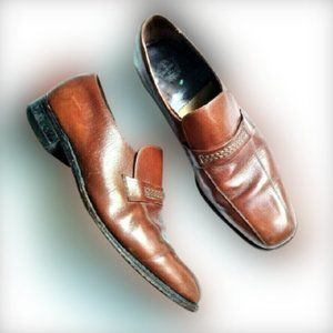 The Florsheim Brown Slip-On Loafers Shoes Mens